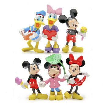 6pcs/set Mickey Figures Toys DIY Mickey & Minnie Mouse Donald Duck Daisy Action Figures Toys Collection Model Toy