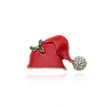 Cute Chic Rhinestone Red Hats Brooch Pins Christmas Hat Brooches Enamel Pins For Women Girls Xmas Gifts Jewelry Broche