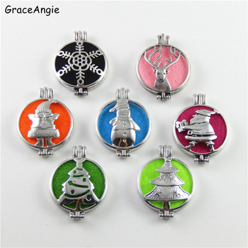 GraceAngie 1PC Hollow Pattern Santa Claus Perfume Diffuser Essentail Oil Cage Locket Silver Necklace Christmas Tree Pendant
