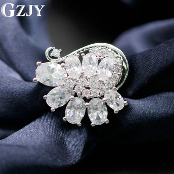 GZJY Charming Clear Austrian Crystal White Gold Color Brooch Pin Jewelry For Women Clothing Accessories