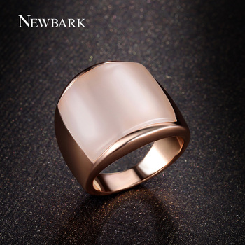 NEWBARK Lovers Finger Ring Gift Synthetic Opal Stone Good Luck Jewelry For Man And Women Rose Gold Color Big Wide Rings Anel